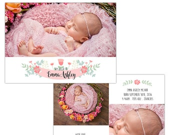 Birth Announcement Photoshop Template--Instant Download n108