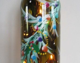 Decorative Garland Covering a Amber Lighted Bottle