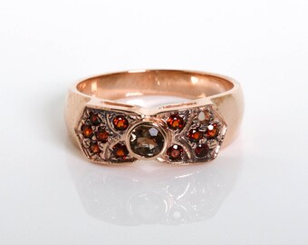 Gold Garnet Flower Ring - Red Gemstone Ring - Vintage Inspired Jewelry - Rose Gold Ring with Garnet and Smoky Topaz - Flower Shape Ring