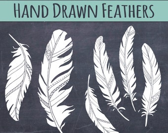 CLIP ART: Chalkboard Feather // Wedding Invitations Art  // Birds of a Feather // Photoshop Brush Stamp // Vector Editable // Save the Date