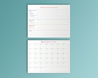 Bill Due Planner Letter Size Bills Planner Daily Expenses Bill Payment Tracker Bills Organizer Expenses Planner PDF Instant download