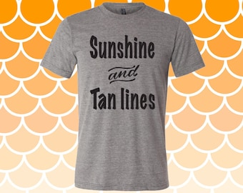 Sunshine And Tan Lines Women's T-shirt, southern sayings, womens clothing, tops and tees, shirt, tshirts, womens shirts, tan lines, summer