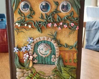 Hand Sculpted Fairy House themed Journal or Sketchbook