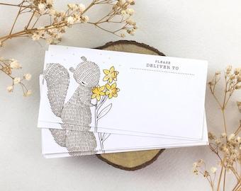 10 Mailing Labels - Squirrel & Daffodil