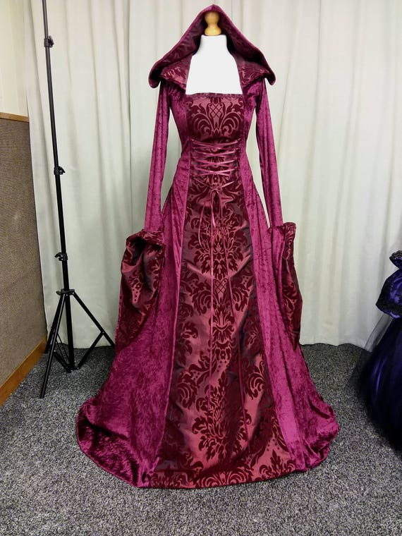 Burgundy red medieval dress red witch dress renaissance