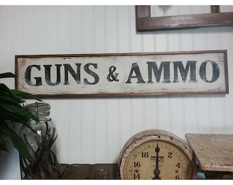 Vintage Style Hand Painted GUNS & AMMO Sign Country Farmhouse