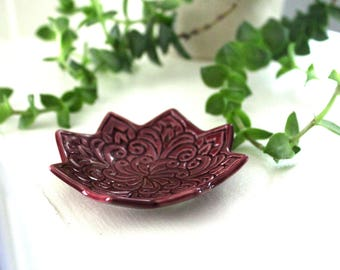Purple Star Ring Holder - Handmade Jewelry Dish - Trinket Bowl - Plum Star Boho Dish - Bohemian Decor - Girlfriend Gift