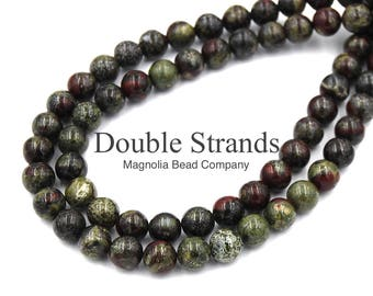 "Two 15"" Strands Dragons Blood Jasper Beads 6mm Grade AA"