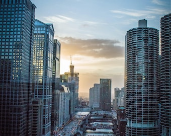 Fine Art Print  //  Chicago Skyline  // HDR // Photography