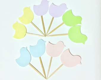 Pastel Easter Baby Chicks Cake Toppers, Cupcake Toppers, Set of 10