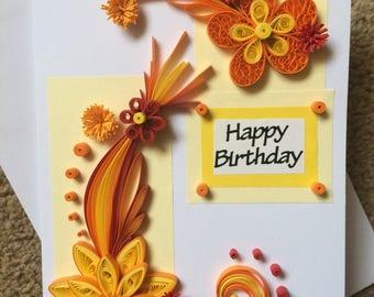 Happy Birthday Flower Greeting Card