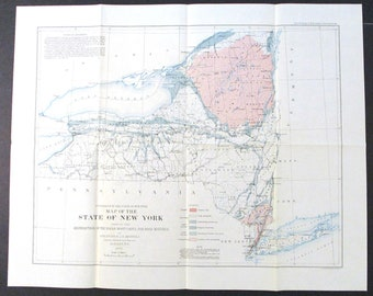 1897 New York State Geological Map: Distribution of Rocks Useful for Road Material by Frederick Merrill. Antique Original Lithograph Map