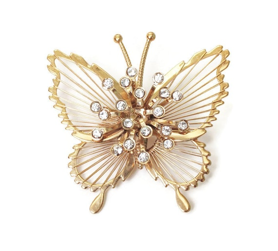 Monet Spinneret Butterfly Brooch Clear Rhinestones Gold Tone Vintage