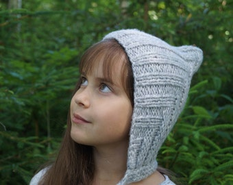 Handmade knitted hat. Baby Pixie Hat. Toddler hat.  Elf hat.   Pixie Bonnet. Toddler Hat. Very soft/warm camel yarn hat.