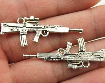 5 Ak 47 Rifle Charms, Antique Silver Tone (1E-108)