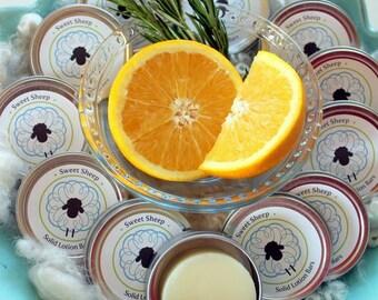Lotion Bar - Orange Rosemary Essential Oil - Handmade - Natural - Lanolin - Hands, body, travel, gift