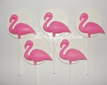 FLAMINGO CHOCOLATE Lollipops*12 Count*Birthday Party Favors*Baby Shower Favors*Wedding Favors*Pink Flamingo Party
