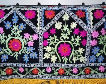 Uzbek silk embroidery on black velour long suzani. Wall hanging, table runner, home decor suzani. SW021