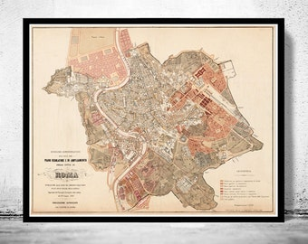 Vintage Map of Rome Roma, Italia 1883 Antique map of Rome