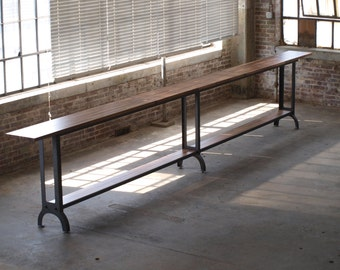 20ft Walnut Drinkrail table standing height industrial chic restaurant drink rail