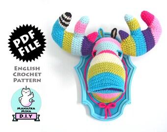 CROCHET PATTERN, DIY, Faux Moose Head, Crochet Moose, Amigurumi Crochet Pattern of Faux Taxidermy Moose Head by Manafka Mina