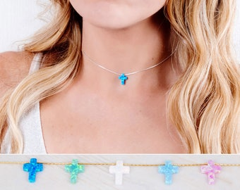 Cross Choker Necklace, Opal Cross Necklace, Dainty Cross Choker, Minimal Silver Choker, Gold, Rose Gold, Blue Opal Necklace, Christian Gift