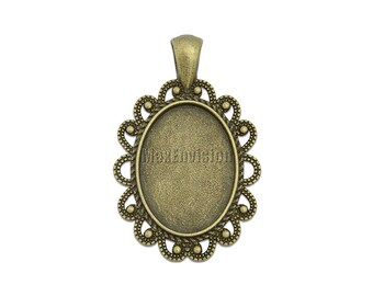 18x25mm Oval Pendant Tray Pendant Blank Bases Cameo Cabochon Base Setting fit 18x25mm Oval Cabochons 20 M214