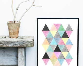 Geometric Print, Printable Art, Geometric Art, Geometric Wall Art, Abstract Art Print, Digital Download
