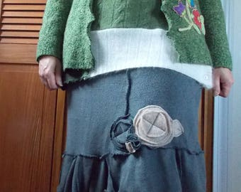 Bird Floral Embellished Open Front Cardigan Sweater L/XL Recycled Eco Friendly Womens Clothing Green Earthy Flower