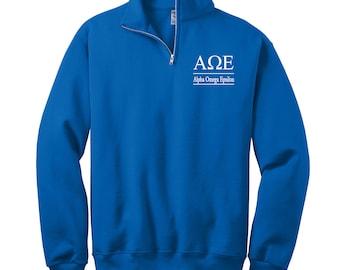 Alpha Omega Epsilon Sweatshirt, Cadet Collar Quarter Zip, Greek Apparel, Alpha Omega Epsilon Sorority, AlphaOmegaEpsilon Apparel, Greek Gear