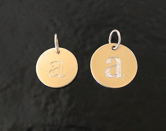 Engraved Initial Disc Charm, Any Font, 14k Yellow Gold, or 14K White Gold - 9mm or 11mm, YOUR Initial, Add A Charm