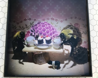 Bumble Bee Framed Tea Party print