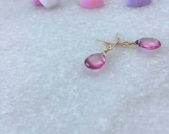 DAPHNE mystic pink topaz earrings