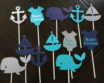Nautical cupcake toppers, Nautical Baby Shower, Nautical Themed party, Nautical birthday Party