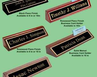 Desk name plate etsy personalized custom desk name plate wedges black glossy rosewood glossy and solid walnut available in 8 or 10 inches colourmoves