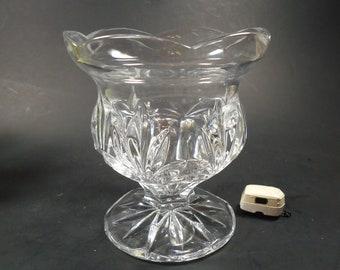 Heavy clear glass pedestal vase