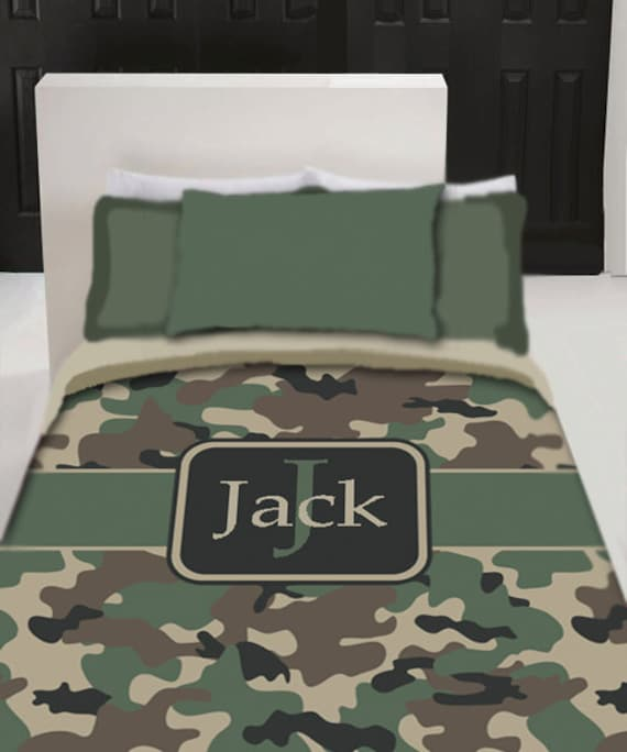 personalized custom camo bedding duvet cover twin queen or. Black Bedroom Furniture Sets. Home Design Ideas