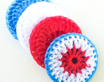 Crochet Nylon Dish Scrubbies - Set of 4 - Red, White and Blue Pot Scrubber