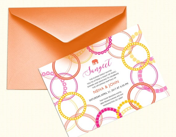 Sangeet or mehndi party bangle and elephant invitation design stopboris Image collections