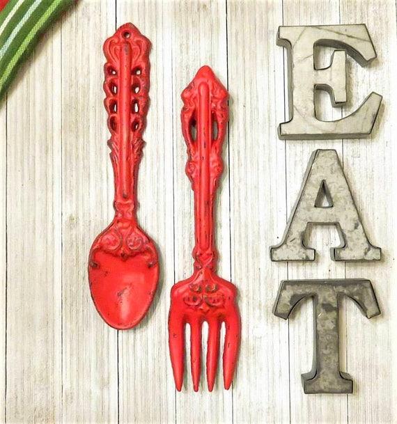 Decorative Kitchen Accessories: Kitchen Decor Fork And Spoon SET Kitchen EAT Signs Kitchen