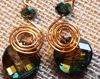 Multi-coloured Swarovski crystal element and gold wire wrapped earrings