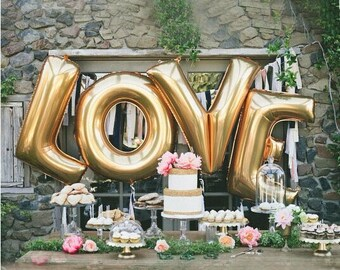 "GIANT 40"" Gold LOVE Balloons 4 Piece Set - Engagement Party Bridal Shower Wedding Reception Valentine's Day JUMBO"