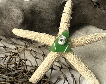 Seaglass & Starfish Wire Wrap Ornament