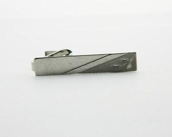 Silver Petals Tie Clip- TT193 - Vintage Tie Clip - Silver Tie Clip