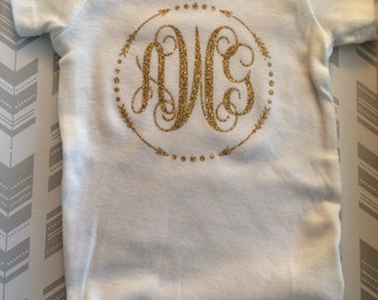 arrow monogram onesie, monogram onesie, baby girl onesie, personalized onesie, baby shower gift, custom onesie, new baby gift