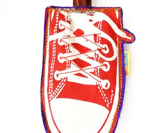 Sport tag for teen's luggage, READY TO SHIP, travel label, travel tag, duffle bag, in the shape of a sport shoe