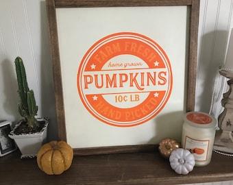 Farm Fresh Pumpkin, hand painted wooden sign