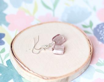 Light Purple Earrings, Lilac Silver Foil Glass Earrings, Spring Easter Earrings, Czech Glass Crystal Dangle Earrings, Mother's Day Gifts