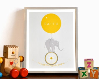 Let Your Faith Be Bigger Than Your Fear Elephant Monocycle Typography Print, Inspirational quote print - modern nursery wall art 8x10