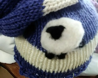 Machine Knit Hat w/Needle Felted Sheep